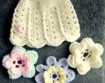 BABY FLOWER HATShell Pattern 3 flowers Newborn preemie 0-3 months Baby Girl Handmade Crochet, Baby Gift New Baby Girl Hand Crochet - Edit Listing - Etsy