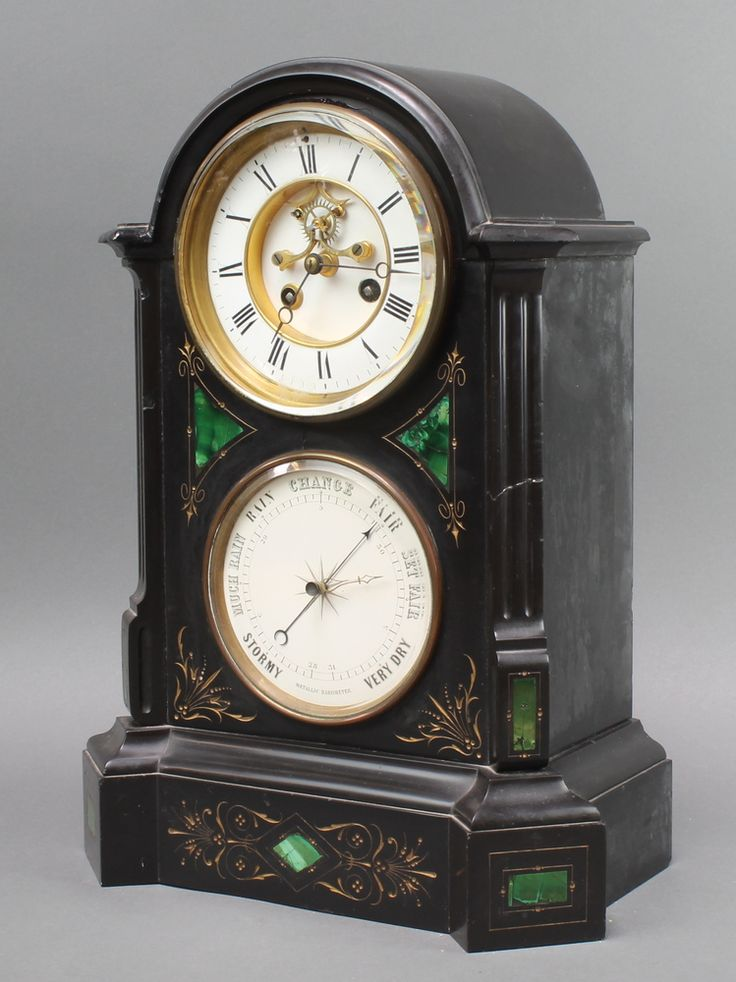 Lot 917, A Victorian French 8 day striking mantel clock with visible escapement contained in a 2 colour marble arch shaped case, the base fitted a barometer est £80-120