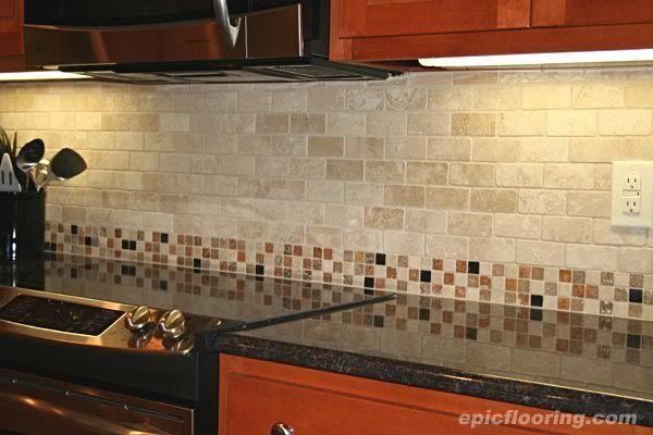 Tile Backsplash With Brown Granite Idea For Tan In 2020 Backsplash Tile Design Kitchen Tiles Backsplash Kitchen Tiles Design