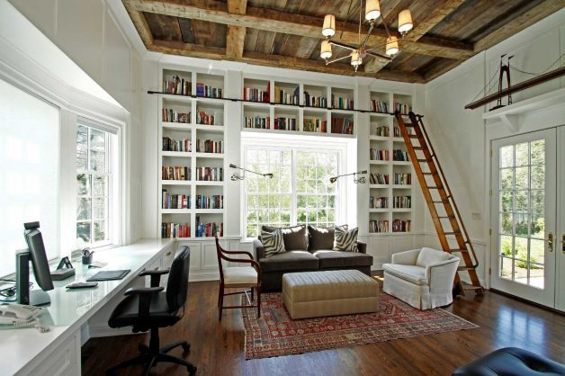 Floor To Ceiling Bookshelves Plans: Floor To Ceiling Bookcases, Home Office, Studio