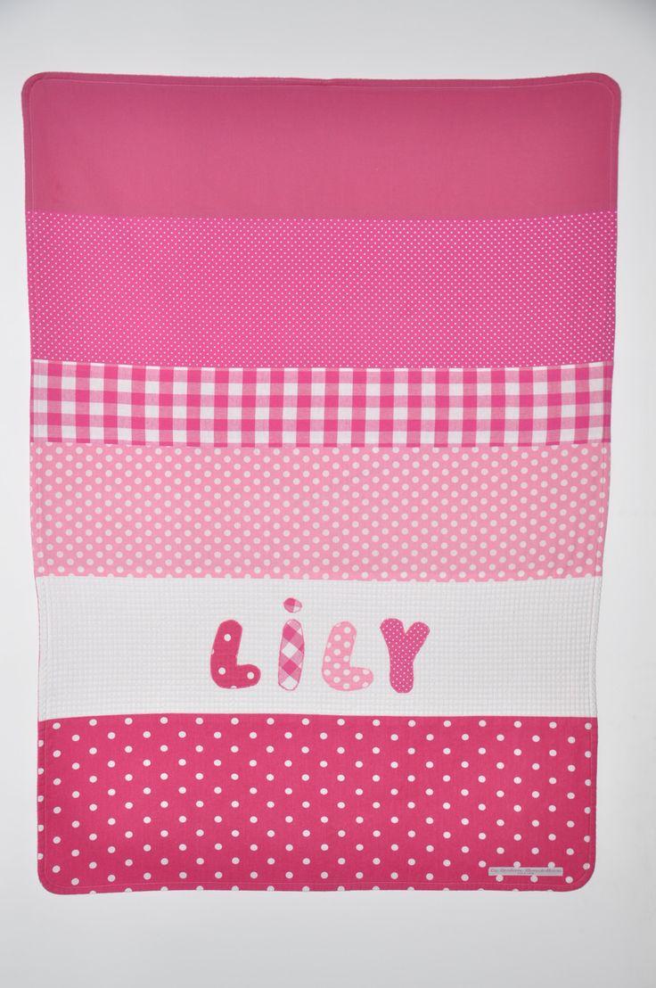 noel couverture bébé personnalisée brodée rose cadeau naissance : Puériculture par lbm-creation