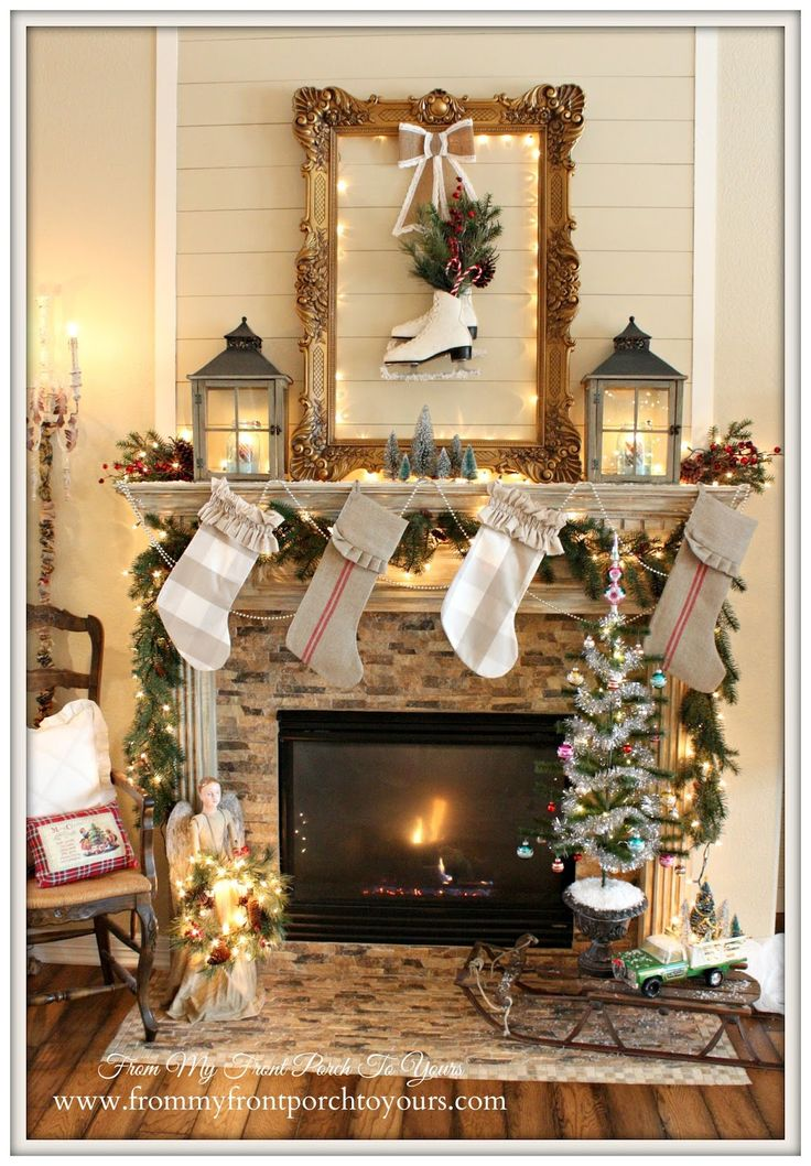 French Farmhouse Vintage Christmas Mantel 2014- From My Front Porch To Yours