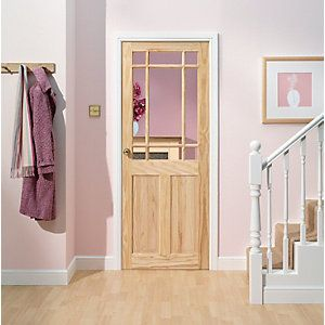 Wickes Truro Internal Softwood Door Pine Glazed 2 Panel 1981x762mm