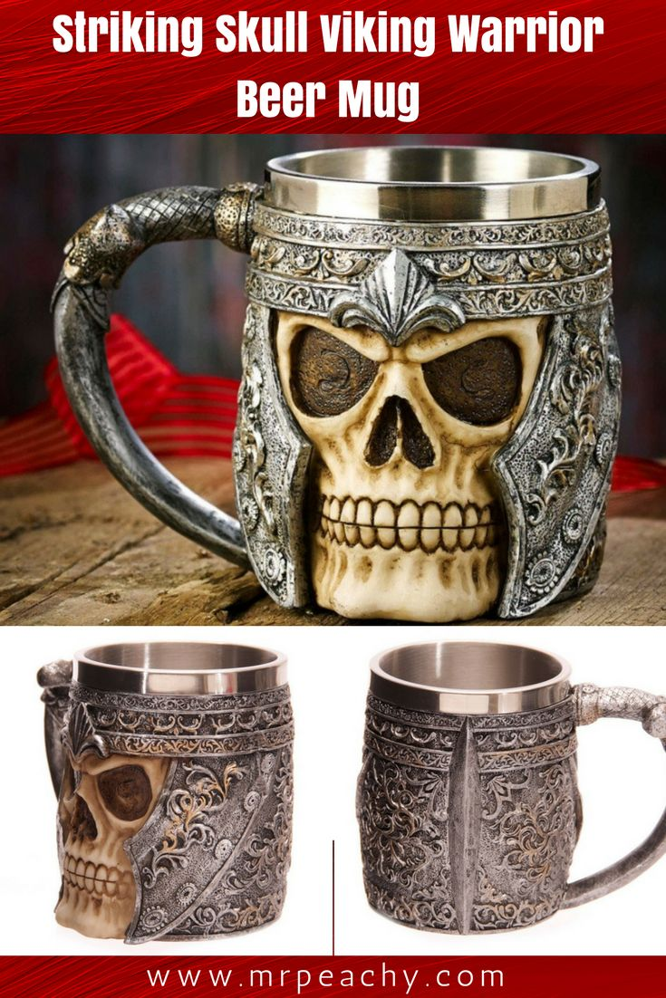 Striking Skull Viking Warrior Beer Mug