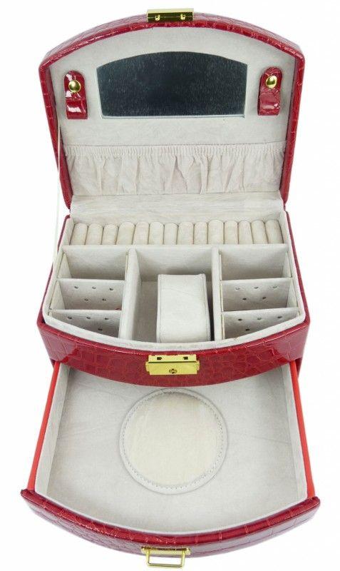 Šperkovnice koženková střední červená 5845-2   Bižuterie Kozák