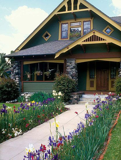 Colorful irises soften the hard edges of a concrete walkway and pick up the colors of the house siding and trim.