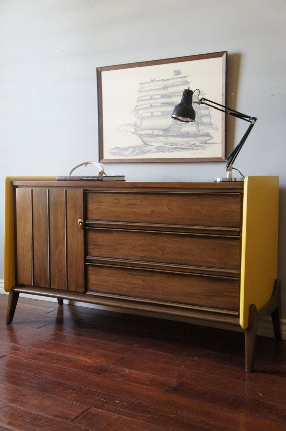 Mid-Century Retro Yellow and Brown Dresser - Console - Changing Table