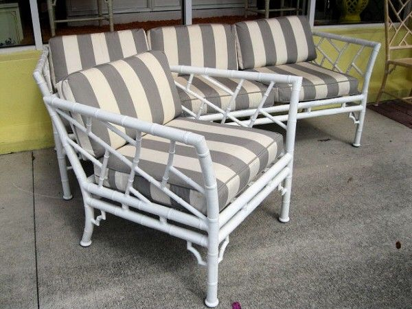 Perfect Vintage Metal Faux Bamboo Chippendale Sofa U0026 Chair