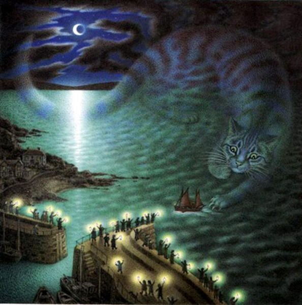 "The Great Storm Cat illustration from ""The Mousehole Cat"" illustrated by Nicola Bayley."