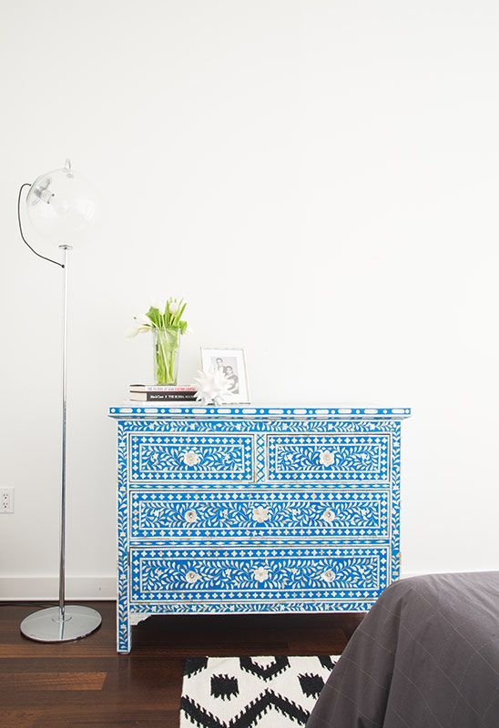 bold blue inlay dresser