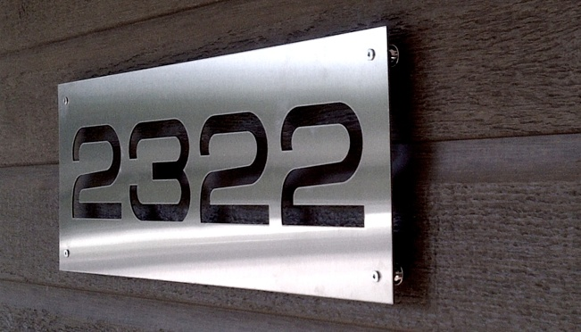 house numbers + signage