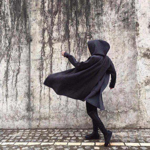 Jackets – Unisex Oversized Black Coat, Urban Assassin Style – a unique product by Midnight45 on DaWanda