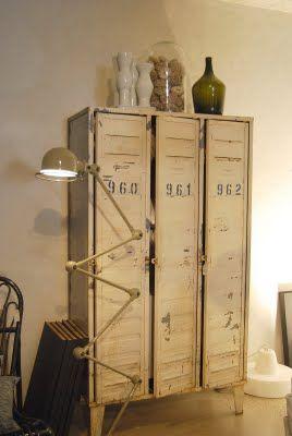 Stoere  brocante locker; Old BASICS heeft diverse lockerkasten zowel van ijzer als van hout! www.old-basics.nl