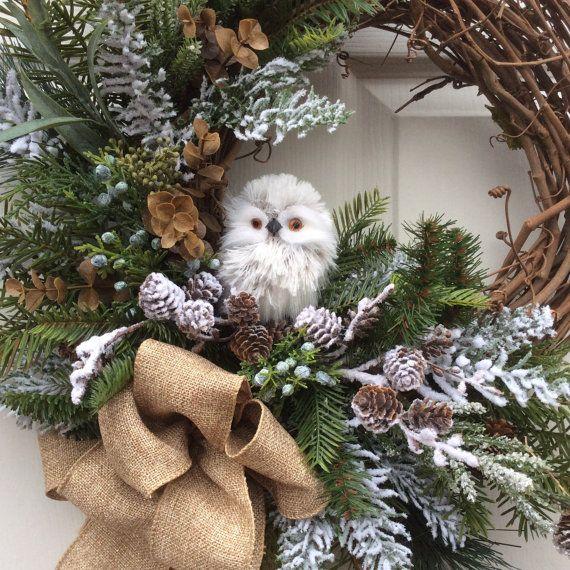 HOLIDAY SALE- 15% off-Christmas Wreath-Holiday Wreath-Winter Wreath-Natural Christmas-Owl Wreath-Natural Wreath-Designer Decor-Burlap