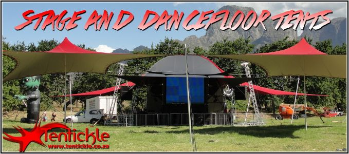 Stage and dance floor tents at the Synergy Festival
