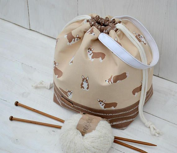 Puppy Drawstring project bag Knitting organizer bag Dog lover #projectbag #knittingtote
