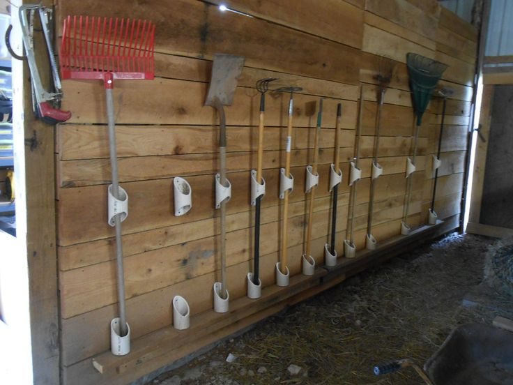 barn tack rooms | DIY tool hangers from PVC for barn