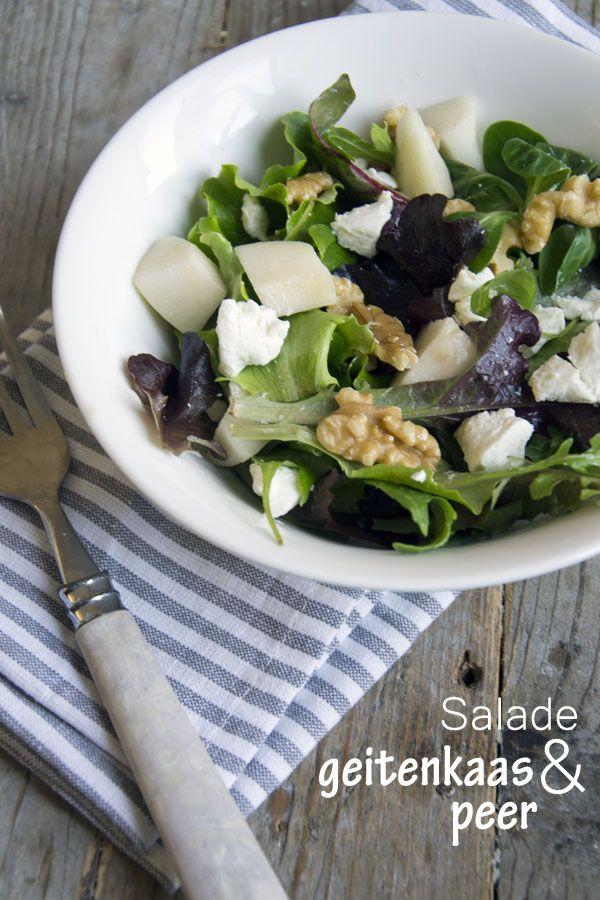 Salade geitenkaas en peer