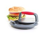 Progressive Perfect Burger Press - Grey/Red The Progressive Burger Press will help you to make the perfect burger every time, simply and easily. Consisting of three parts: a base, a lifter/insert and a press, this innovative kitchen gadget will http://www.MightGet.com/january-2017-11/progressive-perfect-burger-press--grey-red.asp
