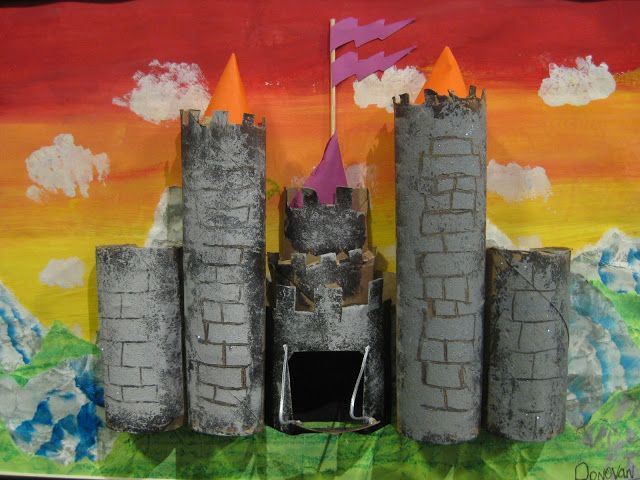 Cassie Stephens: In the Art Room: Totally Tubular Castles using cardboard tubes, color theory, clouds, landscape, perspective, paper, oil pastels, and glue.