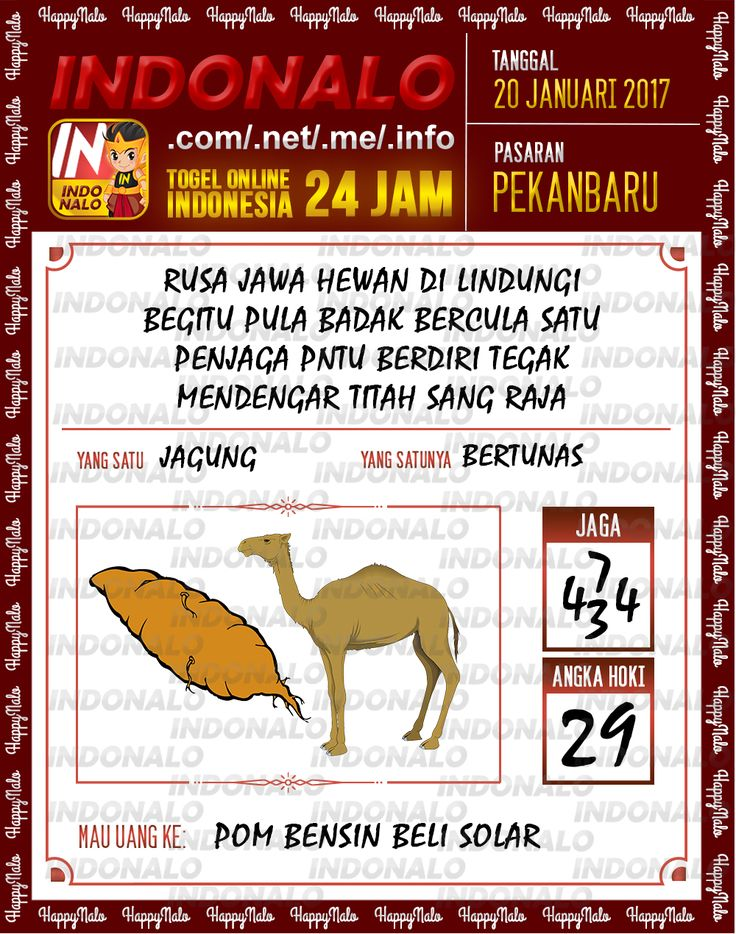 Nomer Hoki 4D Togel Wap Online Live Draw 4D Indonalo Pekanbaru 20 Januari 2017
