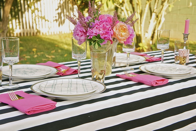 Outdoor entertaining, black/white striped tablecloth, pops of pink by @Irene Lovett