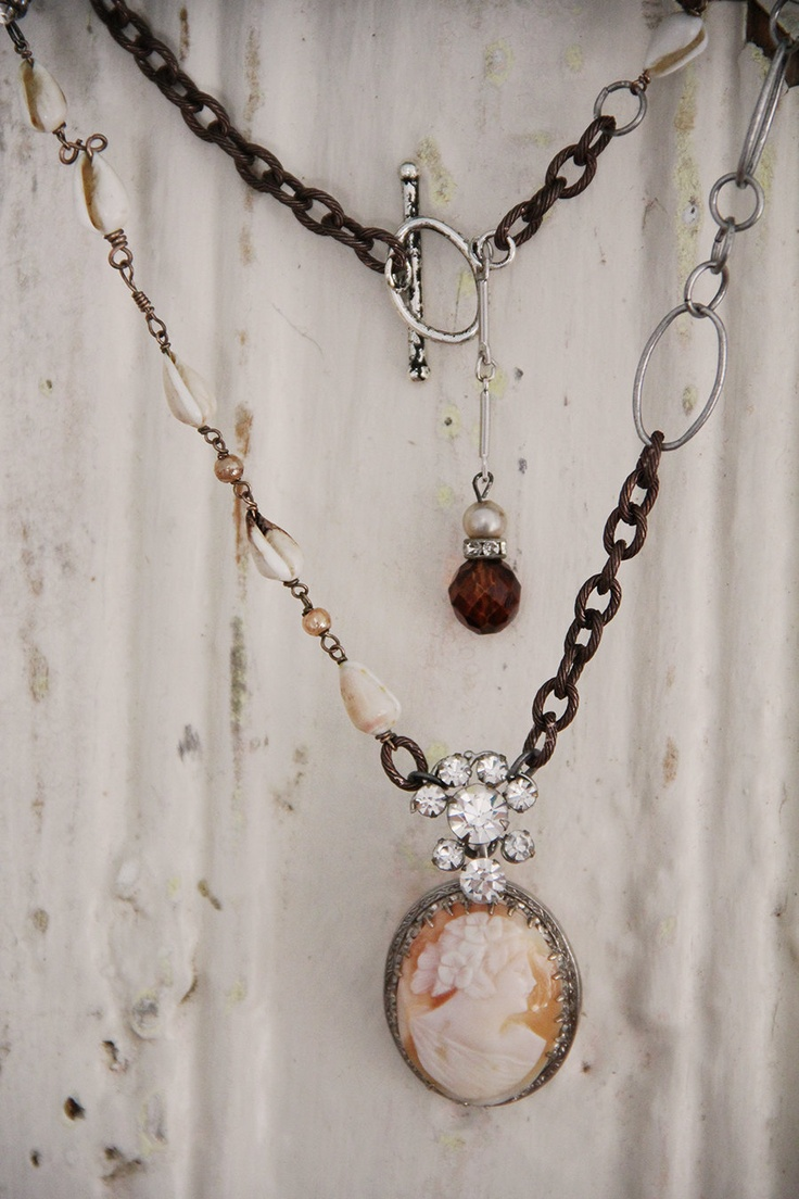 Musette .... Vintage Cameo Necklace.... Restyled Jewelry. $64.50, via Etsy.