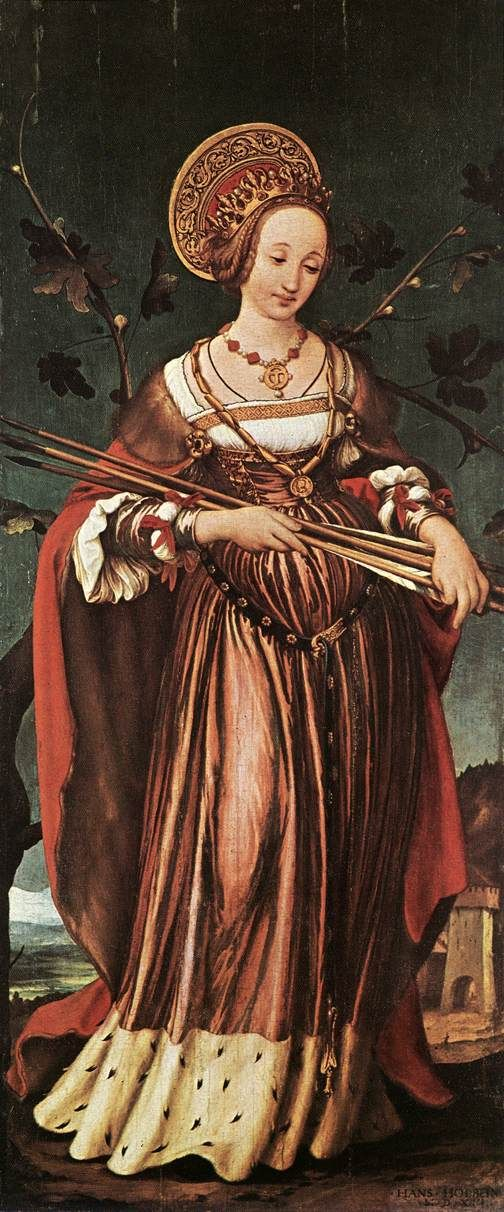 "Painting of the Day! Hans Holbein (Hans Holbein the Younger) (c1497-1543) ""St. Ursula"" Tempera on wood c1523 To see more works by this artist please visit us at: http://www.artrenewal.org/pages/artwork.php?artworkid=12066&size=large"
