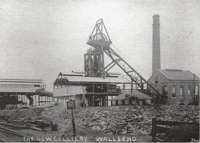 Photo showing the New Colliery, Wallsend which was later called the Rising Sun Pit or Colliery. The photo is from 1910. Wallsend is in Tyne and Wear, England.