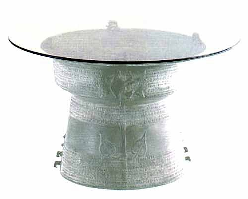 Beautiful And Intricately Designed Traditional Bronze Rain Drum Tables With  Miniature Elephants Or Frogs Around The Top Edge   Many Sizes Available