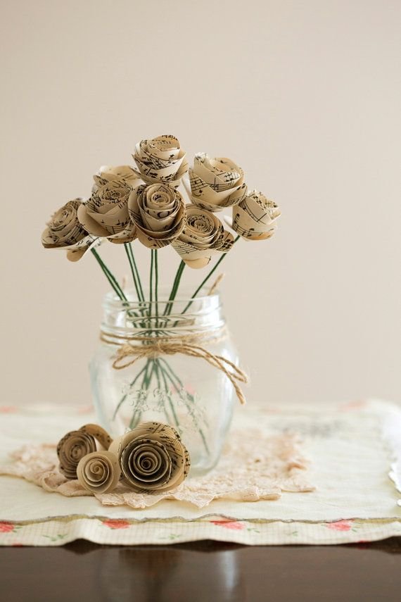10 x Small Music Paper Rose Stems by PaperVintageLove on Etsy, $25.00