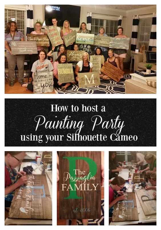 Use your Silhouette Machine or Cricut to host a Sign Painting Party. DIY Parties are all the rage, learn how to throw one yourself with 5 easy steps!