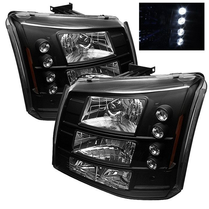 ( Spyder ) Chevy Silverado 1500/2500/3500 03-06 / Chevy Silverado 1500HD 03-07 / Chevy Silverado 2500HD 03-06 1PC W/ Bumper Lights ( Require GRI-SP-CS03-CT Grille ) LED ( Replaceable LEDs ) Crystal Headlights - Black