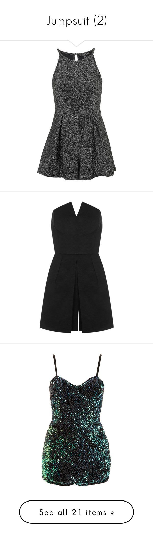 """Jumpsuit (2)"" by geniusmermaid ❤ liked on Polyvore featuring jumpsuits, rompers, dresses, vestidos, playsuits, petite, silver, topshop romper, topshop rompers and playsuit romper"