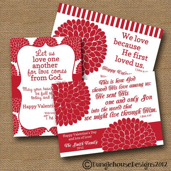 Bible Verse Valentines DIY PRINTABLE Valentine Cards (Set of 3) 1 John Scripture Christian Valentines. $24.00, via Etsy.