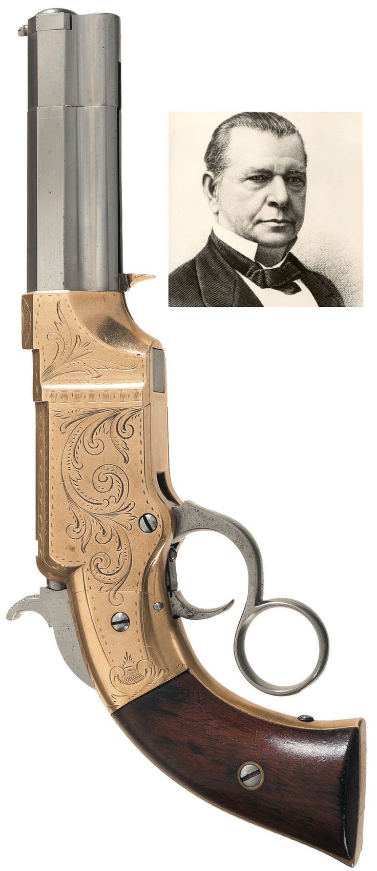 Rare Factory Engraved Volcanic Lever Action No.1 Pocket Pistol.  Lever action…Loading that magazine is a pain! Get your Magazine speedloader today! http://www.amazon.com/shops/raeind