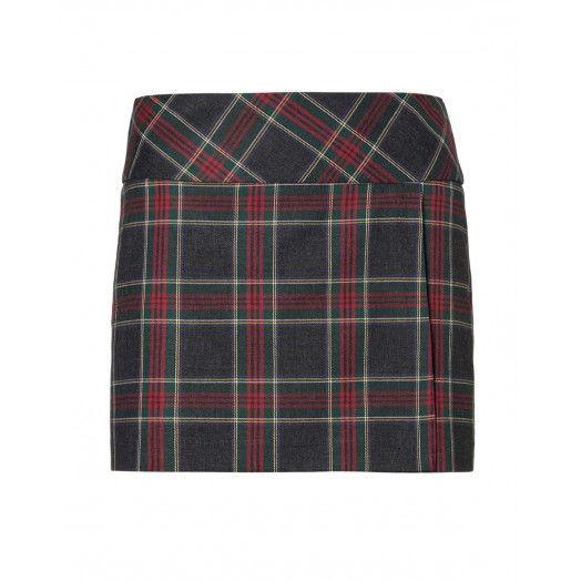 Skirt, short, tartan design, lined, with backside zip closure - UCB