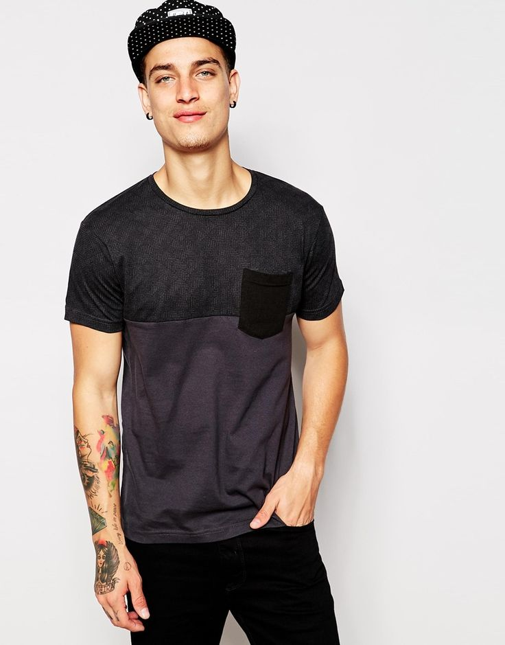 Pull&Bear T-Shirt in Cut and Sew with Pocket T-Shirt