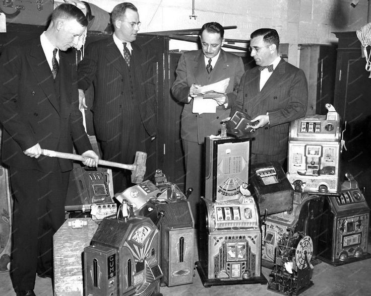 Slot Machines Confiscated & Counted for Destruction 8x10 Reprint Of Old Photo