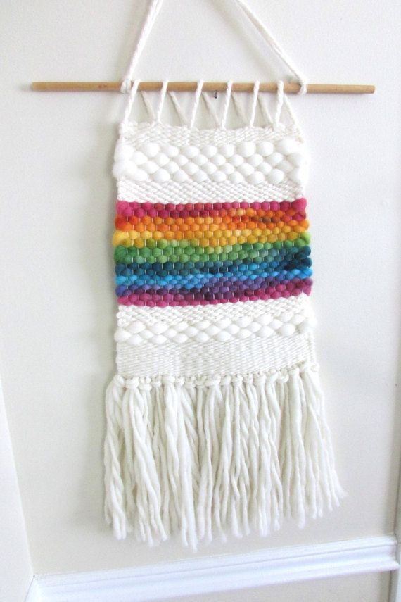 Woven Tapestry/ Wall Hanging/ Weaving Rainbow by EntangledForest