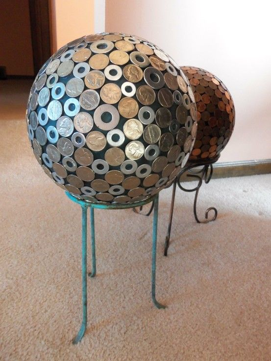 Bowling ball with washers and nickels.  Maybe use a large plastic Christmas ornament with washers for a lawn ornament.