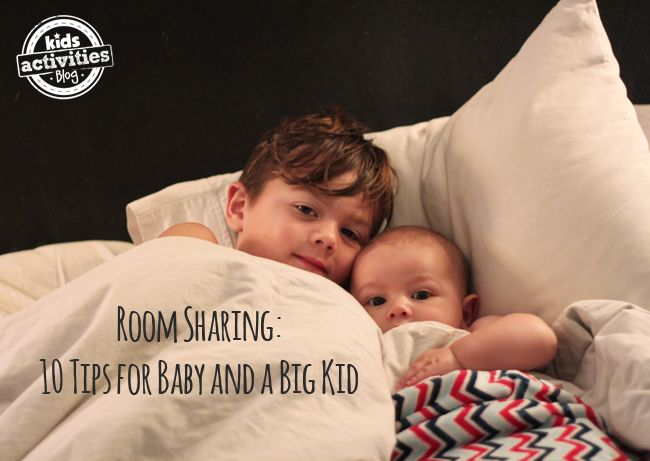 Ten room sharing tips for a baby and an older child.