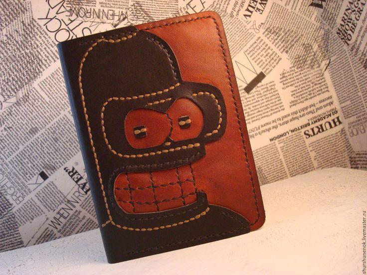 """Купить Обложка для паспорта """"Бендер Родригес"""" - коричневый, робот Бендер, обложка, обложка для паспорта"""