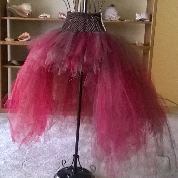 Wine And Brown Layered Bustle Tulle Skirt Steampunk