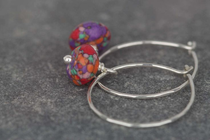 Calsilica earrings ~ rainbow stones ~ hammered sterling silver hoop earrings ~ multi colour earrings ~ bold colours ~ special present by AmySquaredJewellery on Etsy https://www.etsy.com/uk/listing/506926710/calsilica-earrings-rainbow-stones