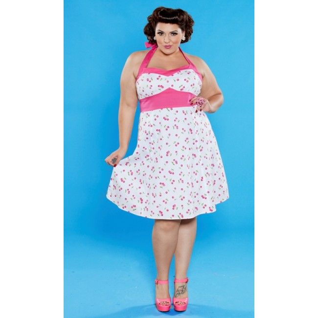 Nothing says Pin Up like Pink Cherries - this retro dress will have u feeling fabulous.  Www.SweetEchoPlus.com Pink-Cherry-Print-Dress