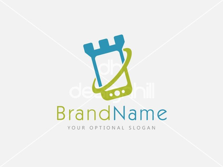 New logo design for sale on Design Hill - simple, mobile, phone, data, game, media, security, safe, protection, virus, shield, castle, recovery, communication, ring, defense, monitoring, tower, guardian, wall, tablet, display, device, fort, watchtower, threat, danger, logo, design, template,