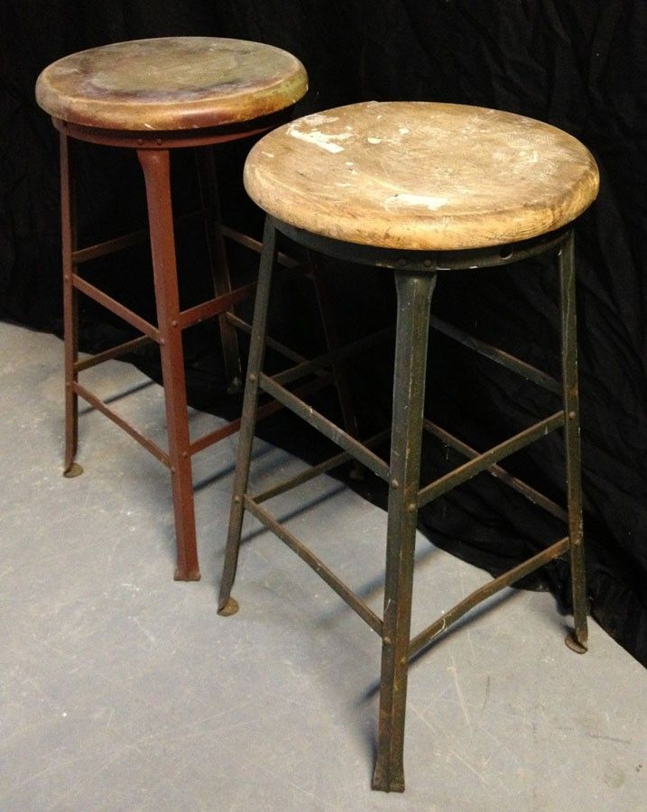 Attractive Vintage Industrial Bar Stools With Wood