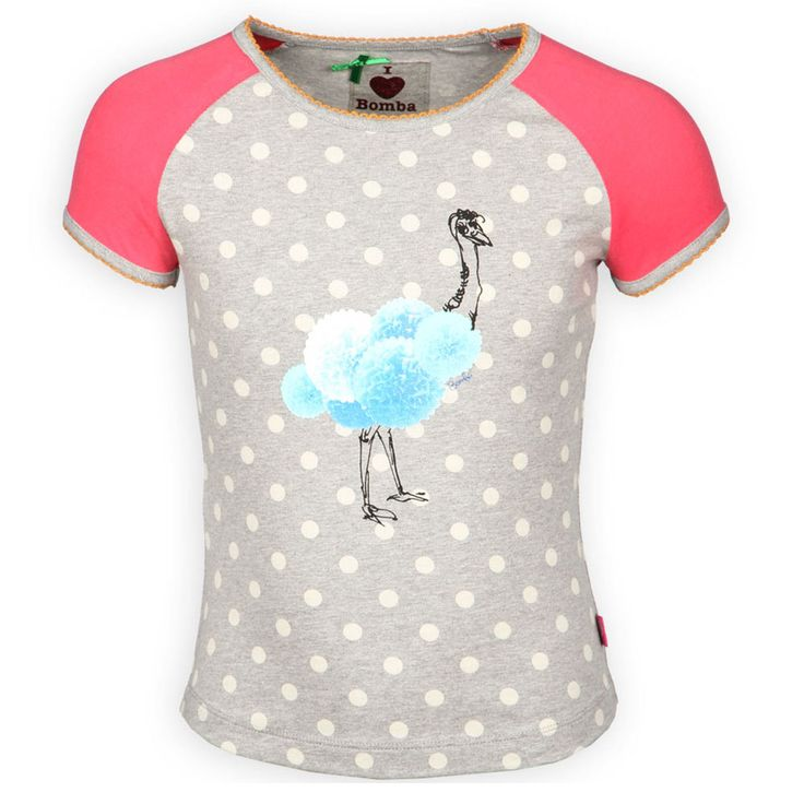 Bomba Kinderkleding Meisjes Shirt Korte Mouw Struisvogelprint Grijs Kinderkleding, Kindermode en Babykleding www.kienk.nl