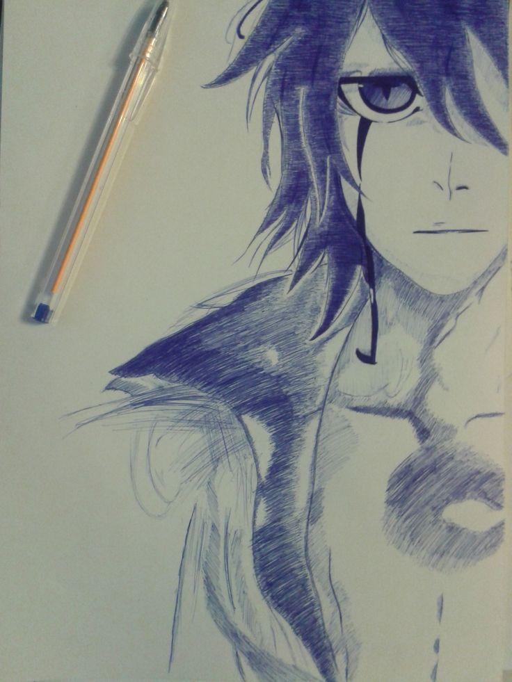 Dibujo de Ulquiorra Cifer con esfero de color azul en carulina blanca A4 por Steven Inca(14 años)